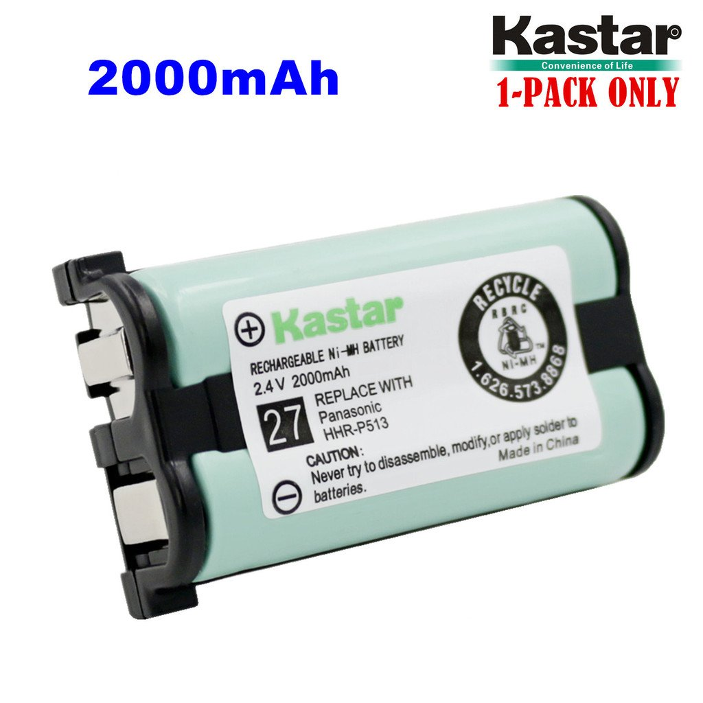 Kastar HHR-P513 Battery, Type 27, NI-MH Rechargeable Cordless Telephone Battery 2.4V 2000mAh, Replacement for Panasonic HHR-P513 HHR-P513A HHR-P513A1B HRR-P513A1B (Detail Models in the Description)