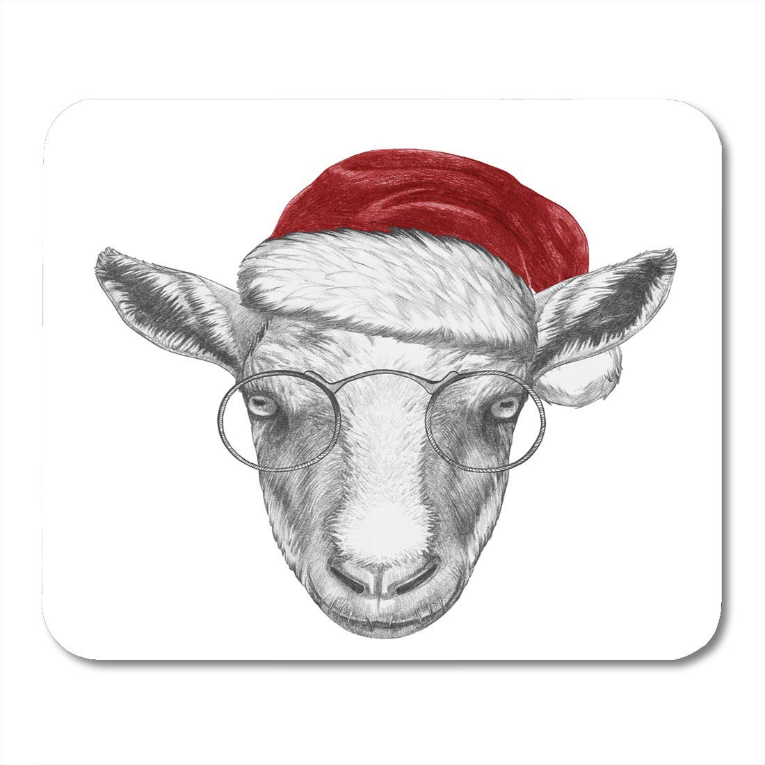 "Nakamela Mouse Pads Animal Black Christmas Portrait of Goat with Santa Hat Red Agriculture Celebration Mouse mats 9.5"" x 7.9"" Mouse pad Suitable for Notebook Desktop Computers"