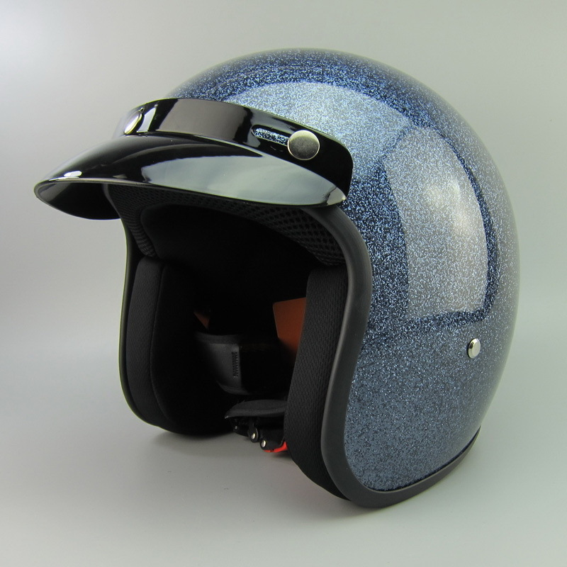 Motorcycle Open Face Helmet Casco With Bubble Visor Dot Ce Approved