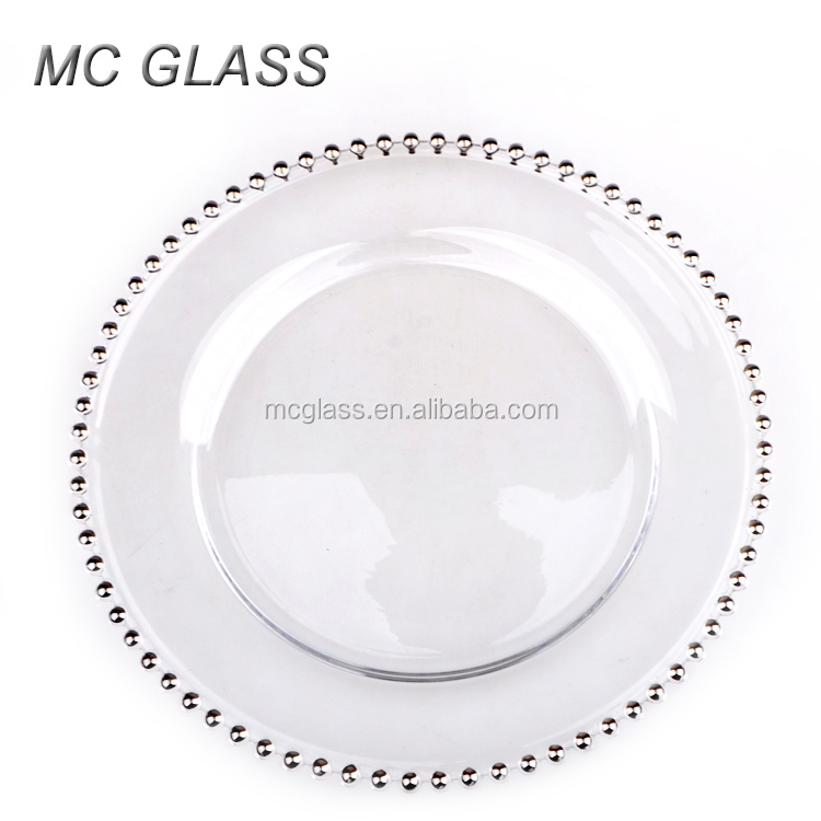 Good High Quality Kitchen Decorative Gold Silver Glass Beaded Charger Plate  Wholesale