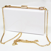 High Quality Hot Sales Luxury White Evening Bags For Women Acrylic Boxed Clutch Evening Bag Plastic Crossbody Lady Handbags