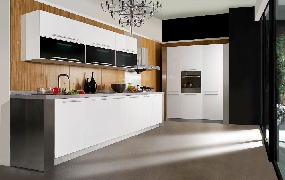 China Cheap Modern White Solid Wood Kitchen Cabinet Unit