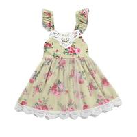 Baby Girl Summer Dress For 12M-5Y New Baby Party Princess Girl Flower Sleeveless Dress Lace Casual Tulle Slip Kids Dress