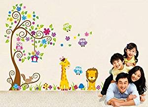 Jessie&letty Removable Animal Jungle Zoo Giraffe Monkey Tree DIY Removable Wall Decal for Living Room Nursery Baby Children's Room Vinyl Wall Sticker Art Home Decoration (JUUNGLE)