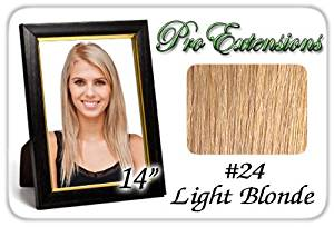 """Pro Extensions 14"""" x 39""""#24 Blonde 100% Clip on in Human Hair Extensions"""