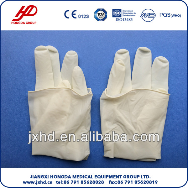 Sterile latex surgical glove powder free