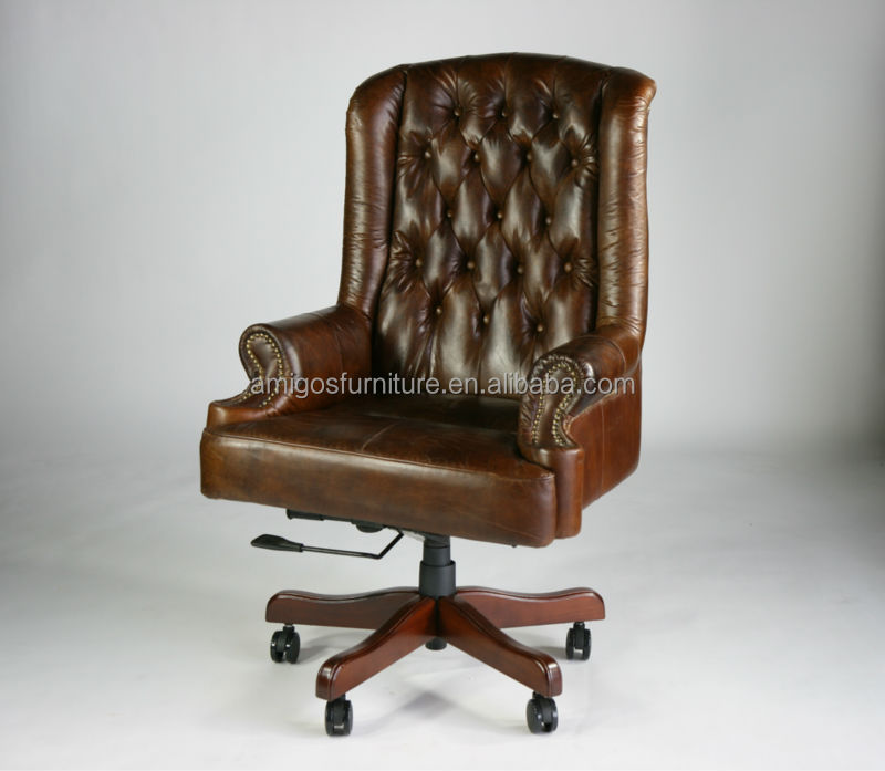 Chesterfield Leather High Back Office Chair With Warranty