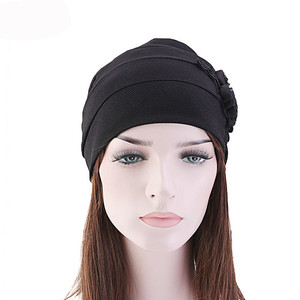 Custom side sticker flower headscarf cap turban hat head wrap for ladies muslim hat