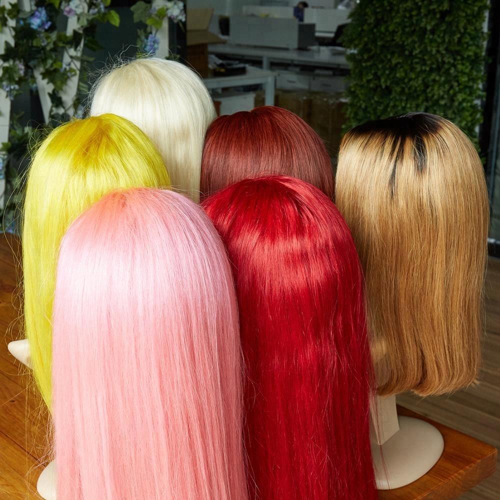 Brazilian ombre white blonde long and short bob wig