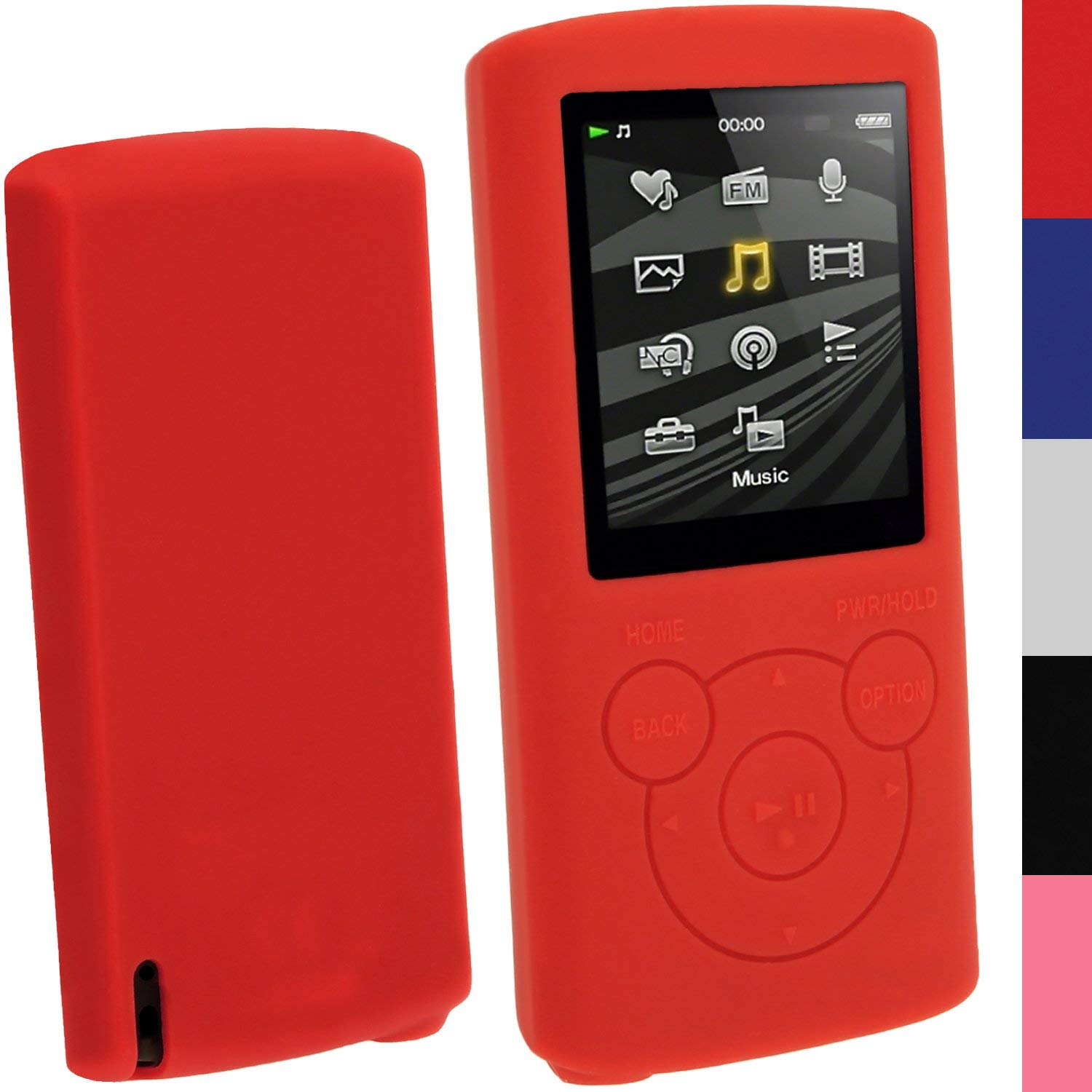 Get Quotations · iGadgitz Red Silicone Skin Case Cover for Sony Walkman NWZ-E384  4GB 8GB + Screen