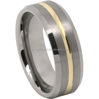 Tungsten Carbide Mens Ring With Gold Plated Centreline