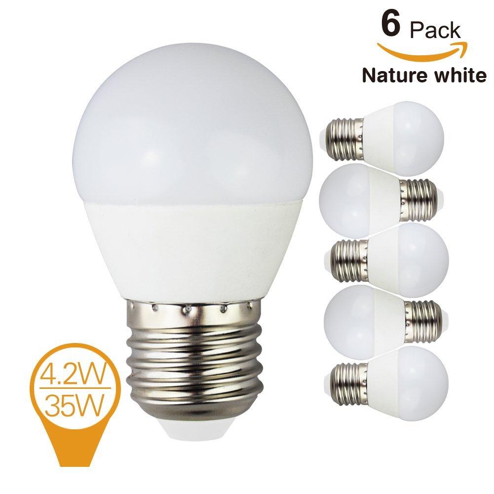 (6 Pack) Homelek 4.2W Natural White G14 LED Bulbs, E26 base, 35W Incandescent Bulbs Equivalent, 430lm,4000K.