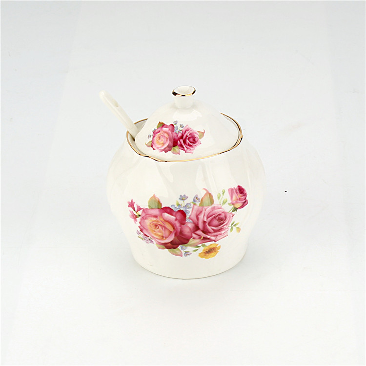 Custom floral kitchen storage handmade wholesale cheap unique spice jar ceramic canister for coffee tea sugar