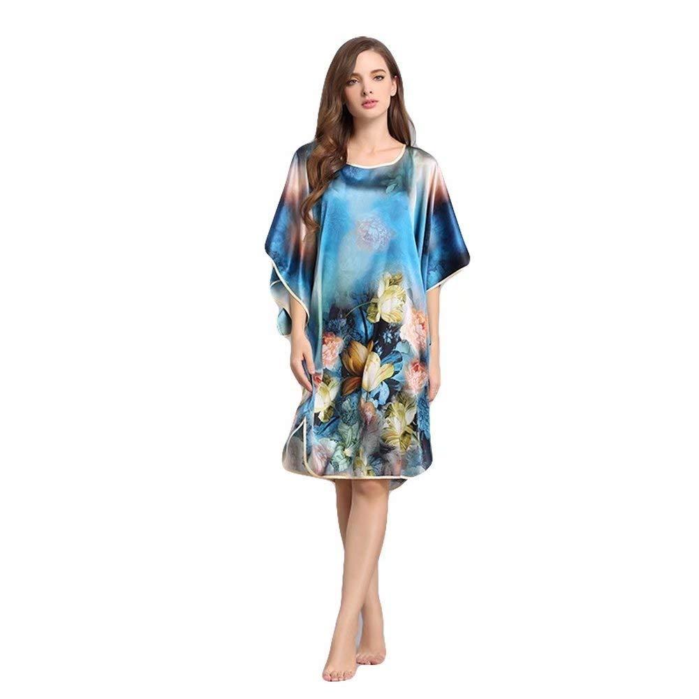 Onlygiftsu 100% Silk Women s Nightgowns Batwing Sleeved Classic Nightwear  Sleepwear Pajama Perfect be7091ed3