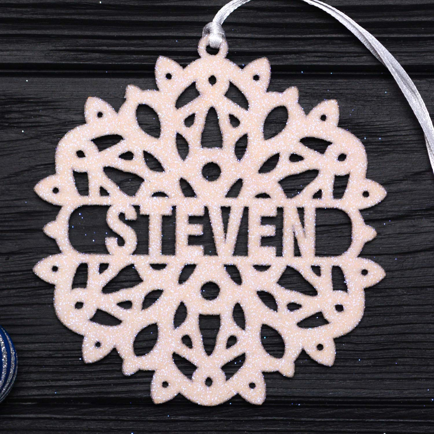 Personalized Christmas Snowflake/White Glitter Snowflake, Wooden Snowflake Ornament, Christmas Decorations, Holiday Decor, Xmas Gifts