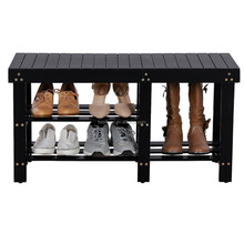 Natural Bamboo Shoe Bench 2-Tier Shoe Storage Racks Shelf Organizer