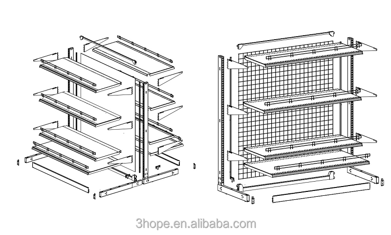 perforated back panel or wire mesh panel display store shelf