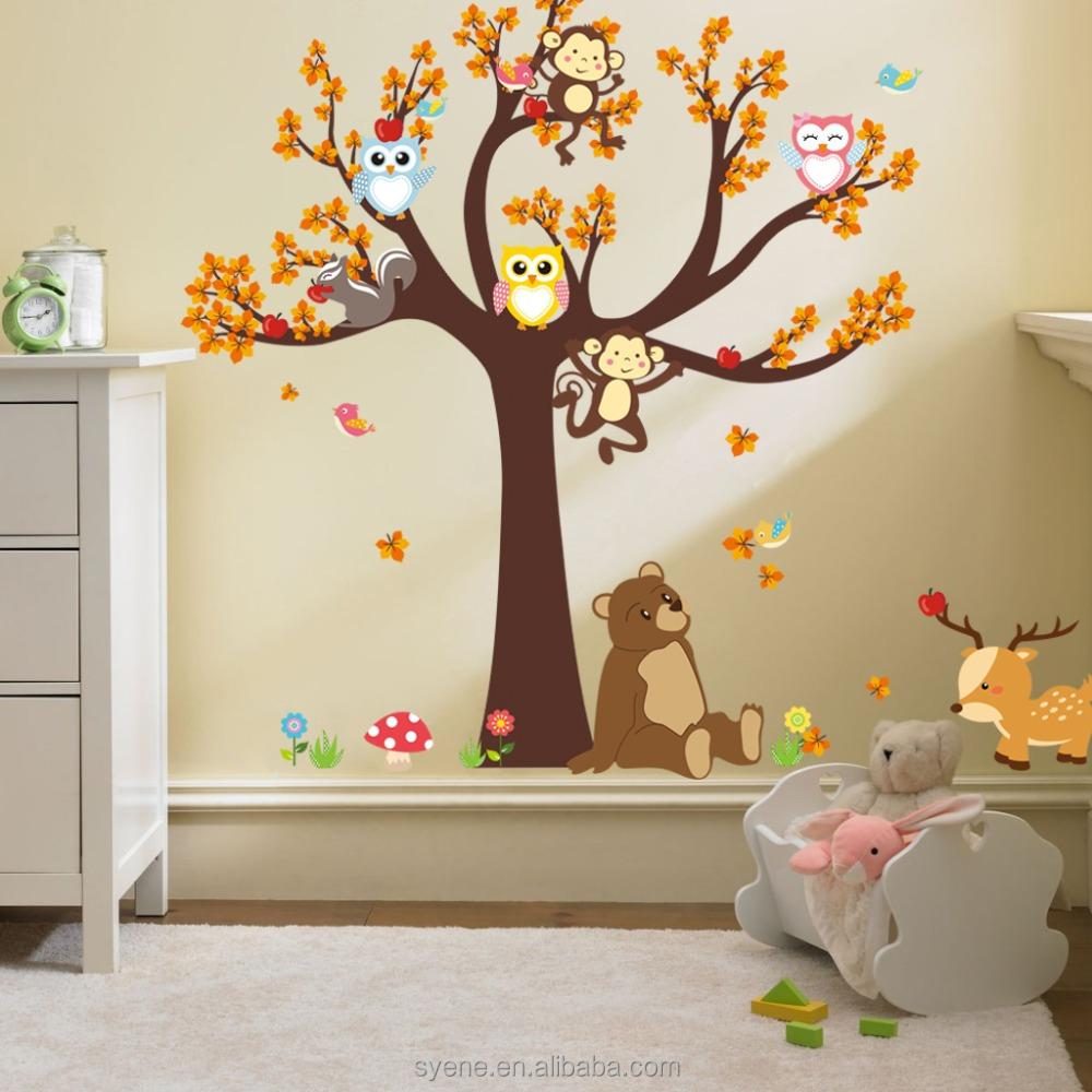 3d Cartoon Animaux Stickers Muraux Maternelle Enfant Salle De Jeux