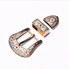 Good quality 3 parts Western style rhinestone belt buckle sets