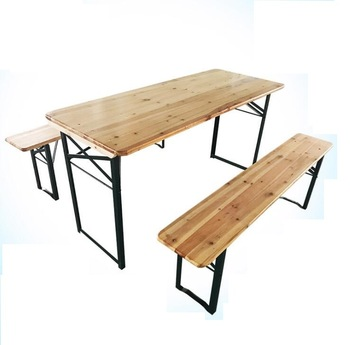 Certification Wooden Beer Garden Table And Bench Sets