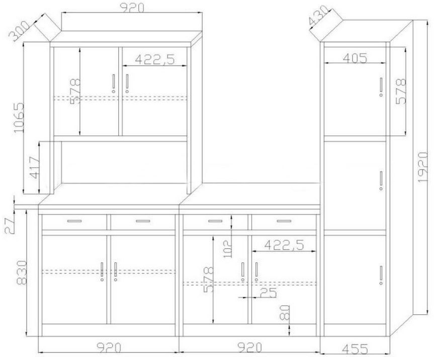 Metal 4 Door Freestanding Larder Cupboard Four Door Steel Kitchen Pantry Cabinet Design Dubai