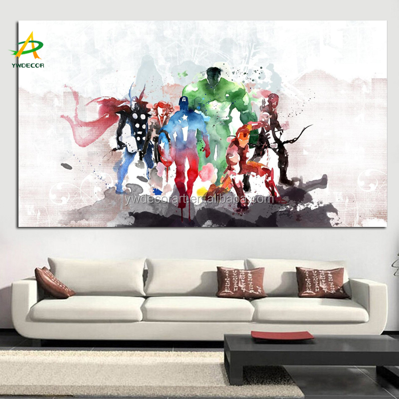 Watercolour Art Painting Print On Stretched Canvas Custom Comics Superhero Wall Hanging Decor Painting