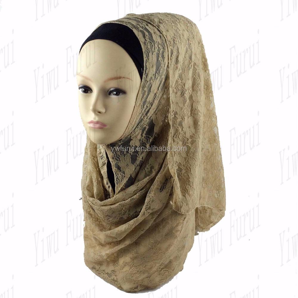Vente chaude Dames De Mode Dentelle Musulman Hijab Solide Couleur Plaine  Islamique Hijab Écharpe