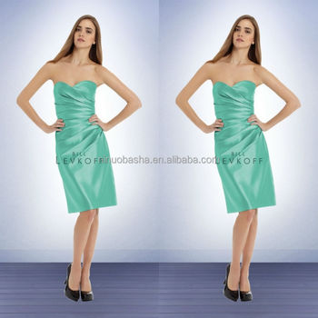 95ef274241c Glacier Knee Length Bridesmaid Dress Patterns 2014 Sweetheart Short Satin  Sheath Prom Gown With Asymmetrical Pleats