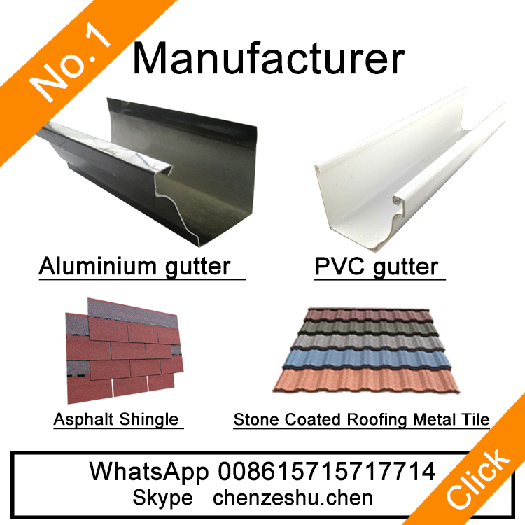 stone coated metal roof tiles and pvc rain gutter