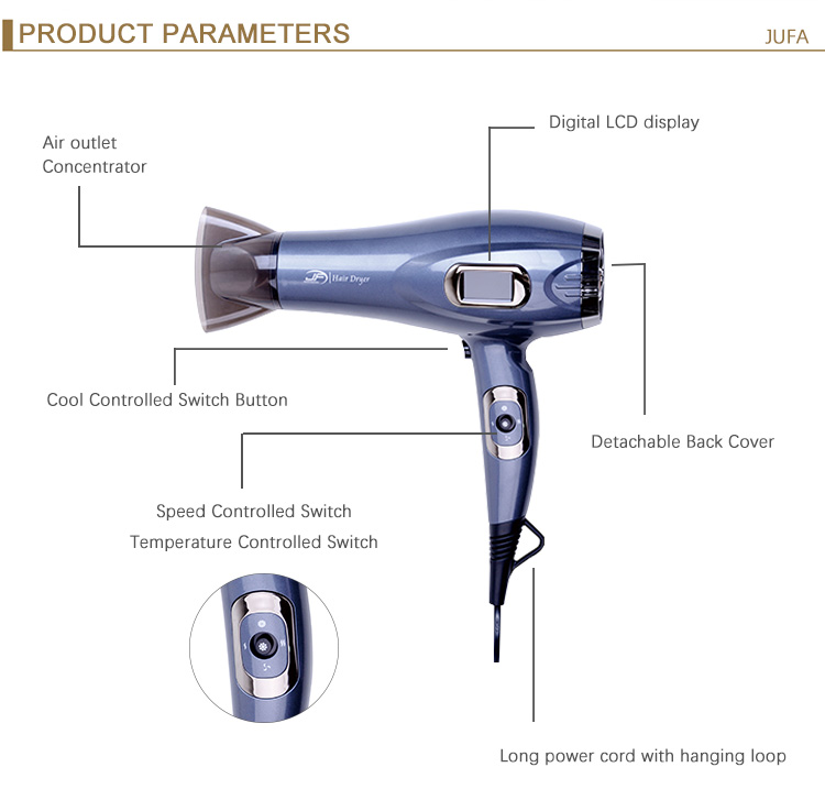 Wholesale Custom AC DC Motor Salon Equipment LCD 2000W HairDryer Professional Blow Hair Dryer with Concentrator/Diffuser/Ionic