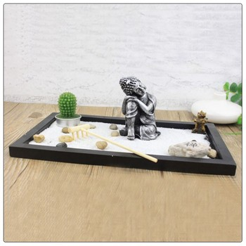 Antique Peaceful Resting Buddha Zen Garden Statue For Home Decoration , Zen  Garden Ornament