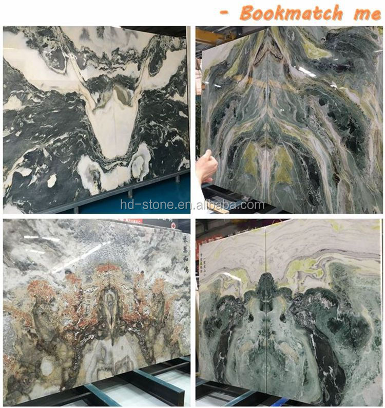 China Landscape Painting Green Onyx Marble Big Slabs, Natural Landscape Painting White Green Bookmatch Marble Onyx Slabs