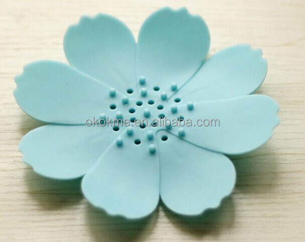 Colorful flower shape plastic and silicone soap box mat for bathroom