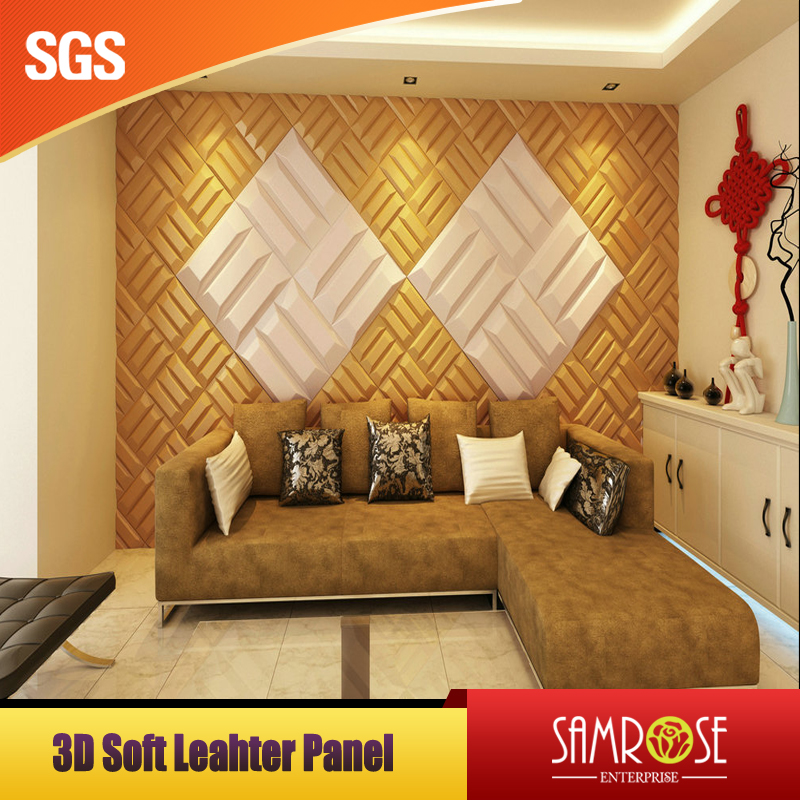 3d wall decor leather wall panel Eco friendly wall panel