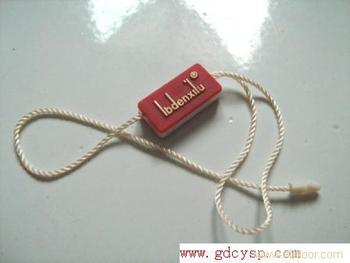Custom plastic tag with raised logo for clothing/jewelry/watch