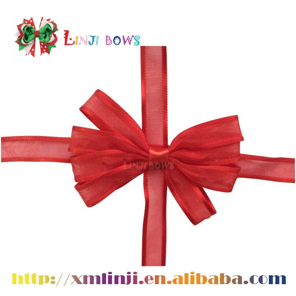 Wholesale 100% Polyester Pre-tied Ribbon Bows with elastic loop