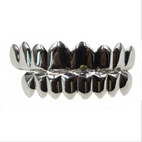 Best Grillz Silver Plated 8pcs Teeth Grillz Bling Top&Bottom Grillz