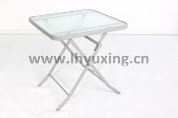 Metal Folding Square Gl Patio Table