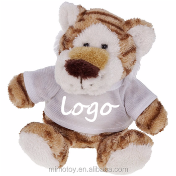 Professional Manufacturer Cartoon Cute Tiger Plush Toy With T shirts LOW MOQ Custom LOGO Soft Toys Stuffed Animal Plush Tiger