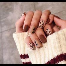 24 шт. горячая Распродажа Леопардовый матовый принт 3D модный сексуальный стиль длинный дизайн ногтей поддельные ложные наклейки для ногтей ...(Китай)