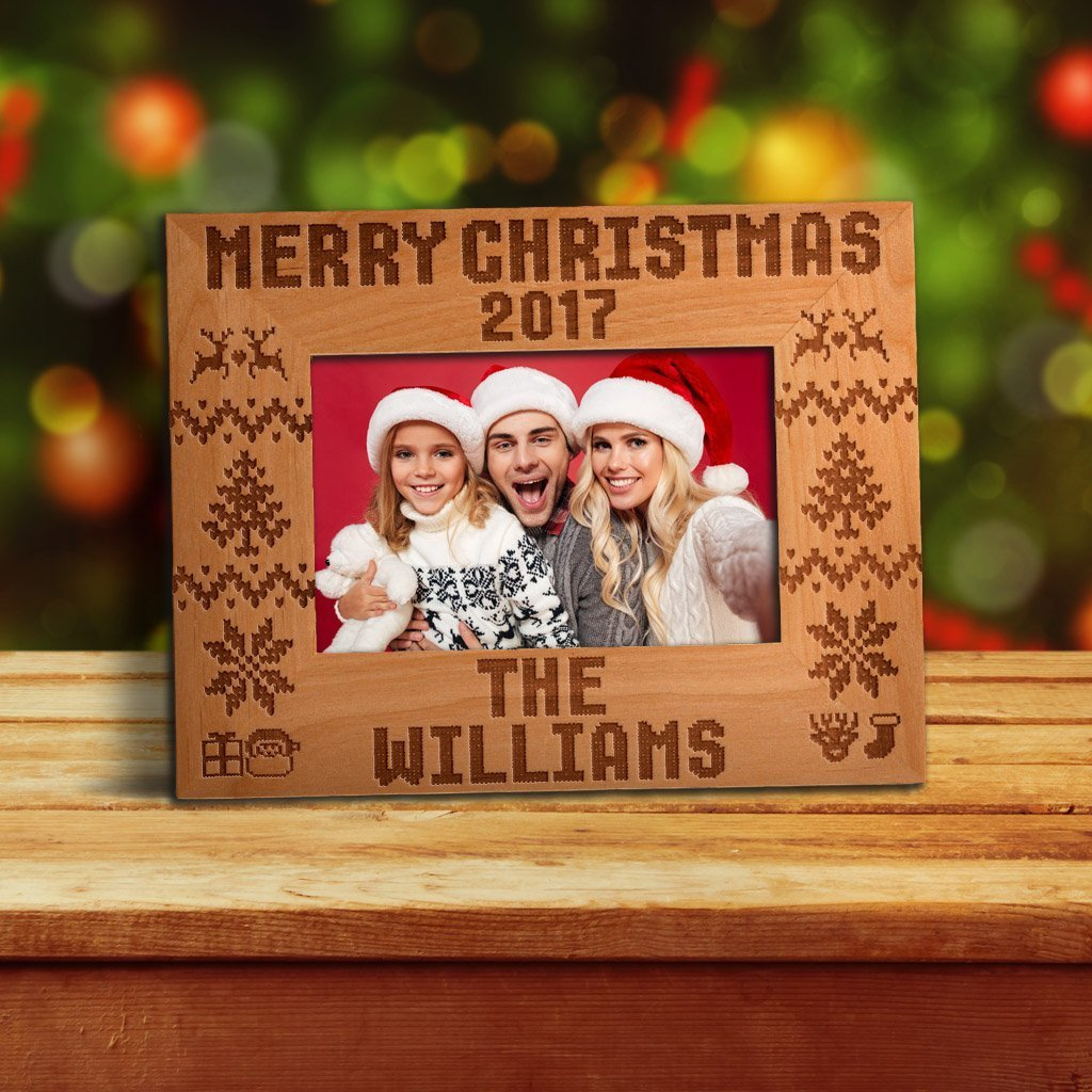 Be Burgundy - Personalized Merry Christmas 2017 Photo Frame - Custom Christmas Gift Frame - Customized Picture Frame - Wood Frame, 4x6   5x7   8x10 Size Options