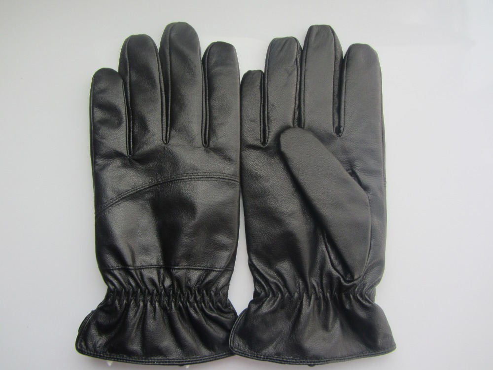 Men's cheap pig leather gloves with fake lamb wool lining
