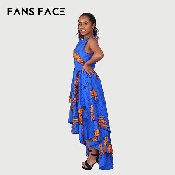 女性の長いカジュアルパーティーアフリカkitengeファドレスデザイン用