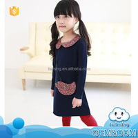 2016 Autumn new design frocks little girl solid dress floral doll collar and pocket country style long sleeve dress