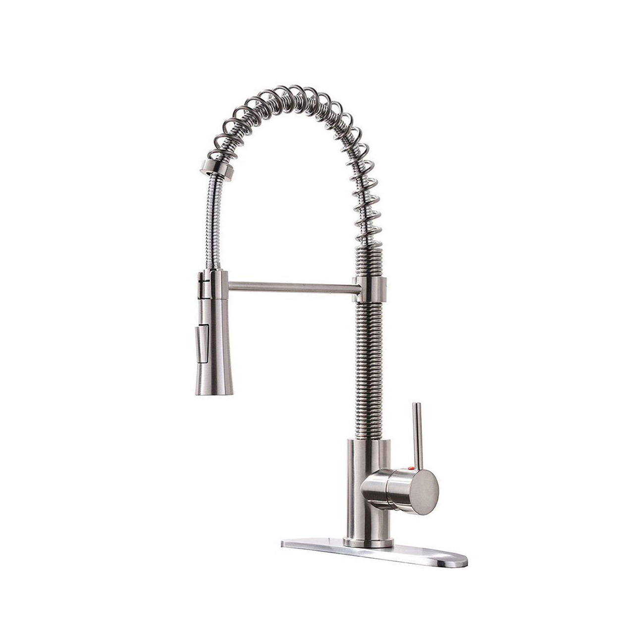 Lead Free Stainless Steel Single Lever Handle Pull Down Sprayer Brushed Nickel Kitchen Sink Faucet With Deck Plate Buy Pull Out Kitchen Faucet Brushed Nickel Kitchen Faucet Stainless Steel Kitchen Sink Faucet Product