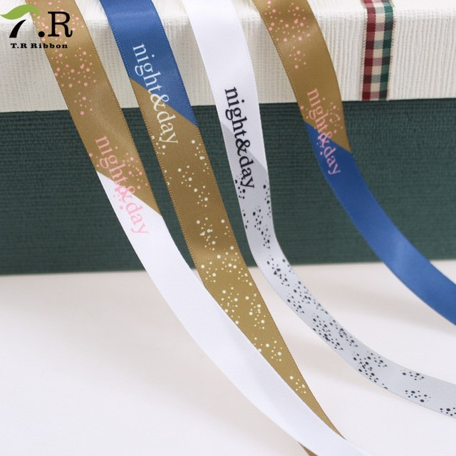 wholesale Polyester foil custom logo printed satin ribbon