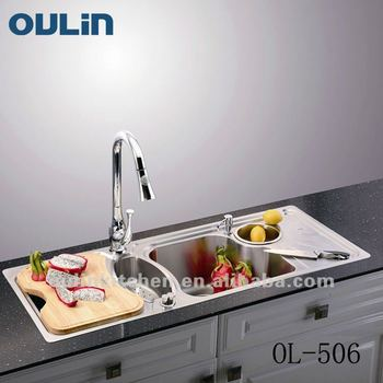 Oulin Kitchen Sink Above Counter Triple Bowl With Drainer Panel Ol 506