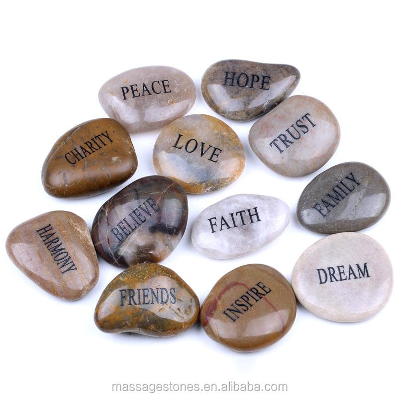 Inscribed Pocket River Rock Wish Stone- Chinese & English Saying ...