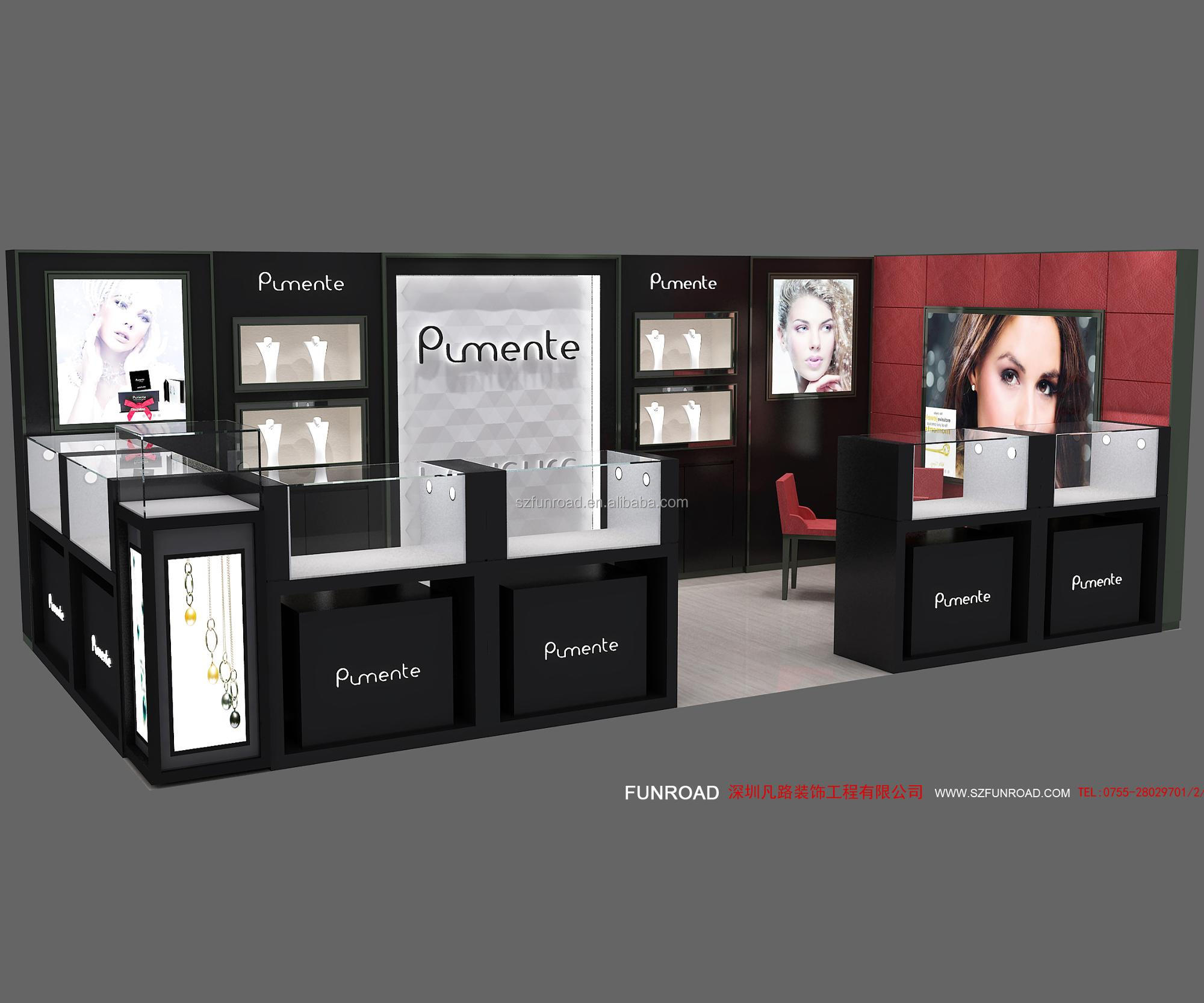 Wood jewelry display kiosk design for sale from Chinese manufacturer