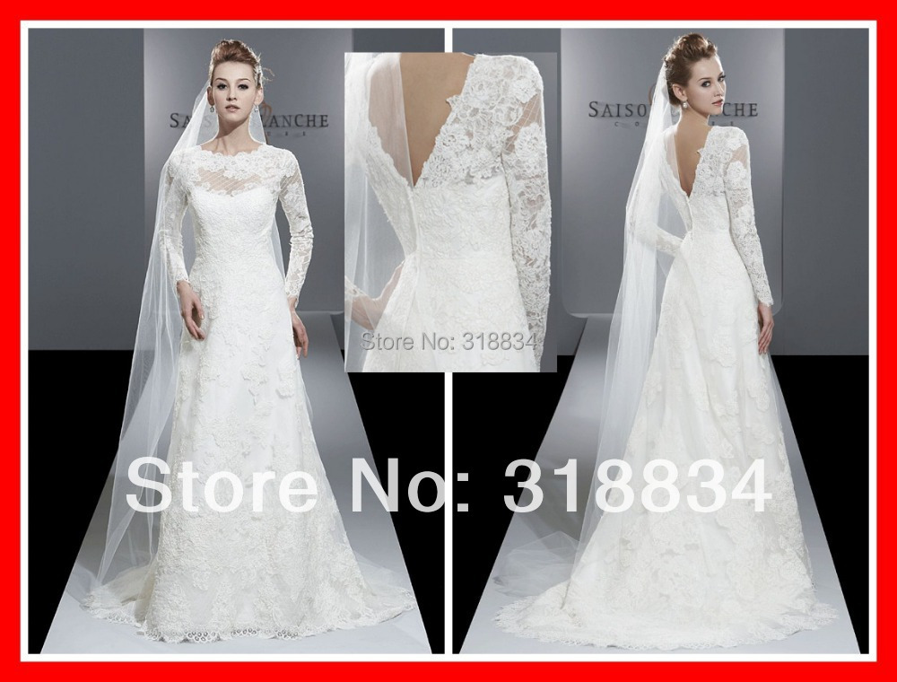 Simple Wedding Dresses With Lace Sleeves: 2015 Romantic White Lace Wedding Dresses F 4205 A Line